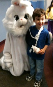 Tyler with the Easter Bunny at the Pediatrician!