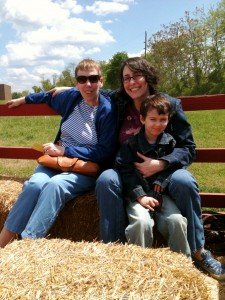 Mom, Tyler and I, before the back-breakingly rough hay ride starts.
